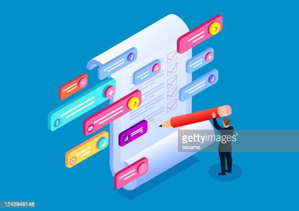 online-test, online-test, fragebogenbefragung - schulische prüfung stock-grafiken, -clipart, -cartoons und -symbole