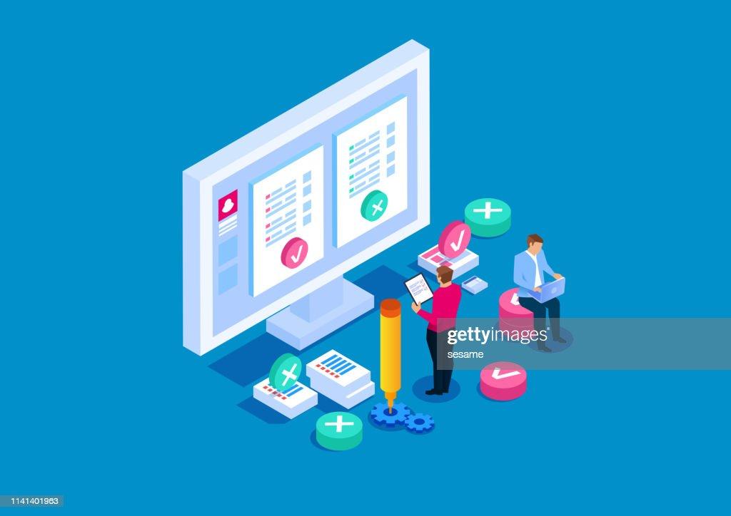 Testes online, educação online : Ilustração