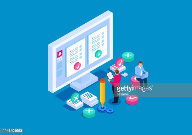 online testing, online education - computer software stock illustrations