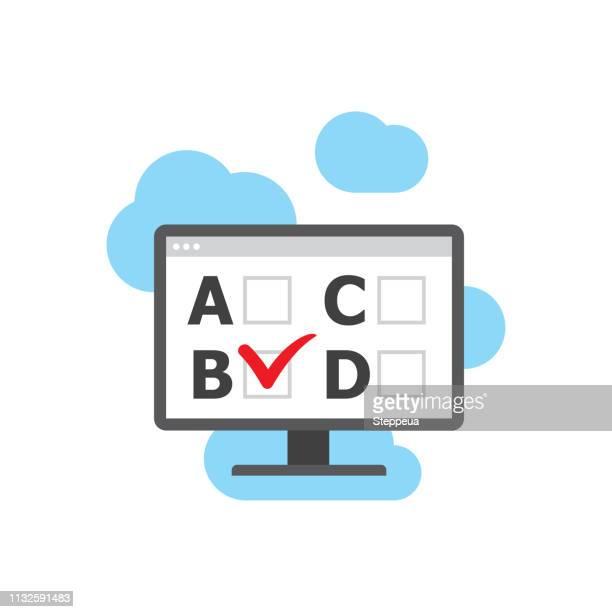 online-test - schulische prüfung stock-grafiken, -clipart, -cartoons und -symbole