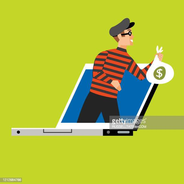 online theft - identity theft stock illustrations