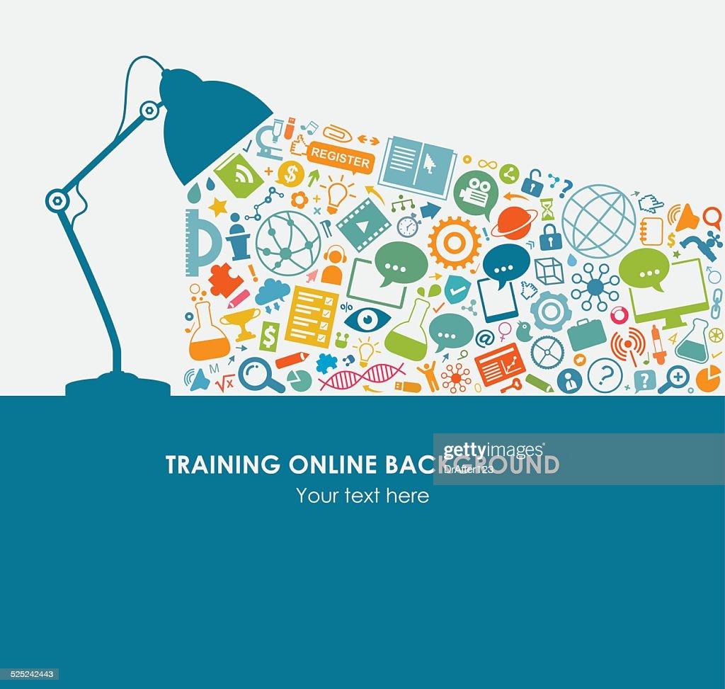 Online Training Background Icon Set