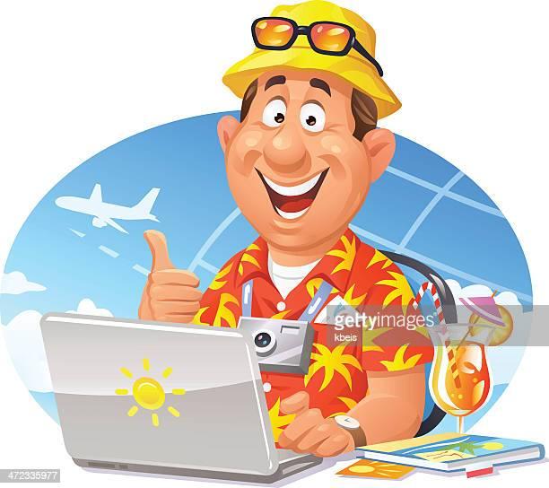 illustrations, cliparts, dessins animés et icônes de réservation de voyages en ligne - vacances