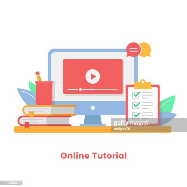 online tutorial vector illustration. online courses, online education and video tutorials concepts flat design. - tutorial stock illustrations