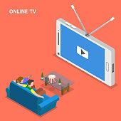 Online TV isometric flat vector illustration.