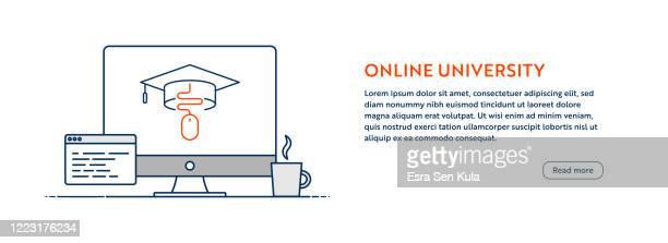 online university concept mit line computer illustration mit editierbarem strich. - schulische prüfung stock-grafiken, -clipart, -cartoons und -symbole