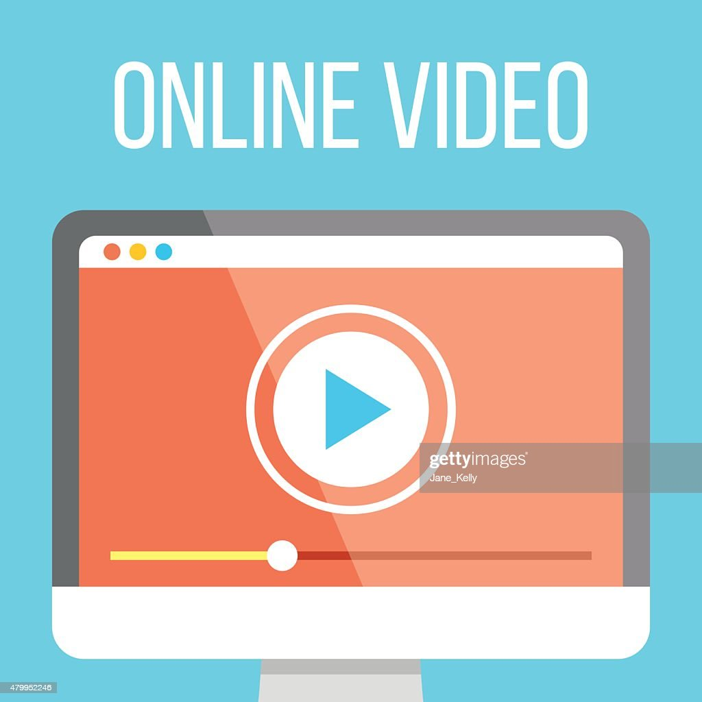 Online video flat illustration