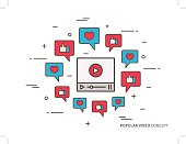 Online video player colorful vector illustration