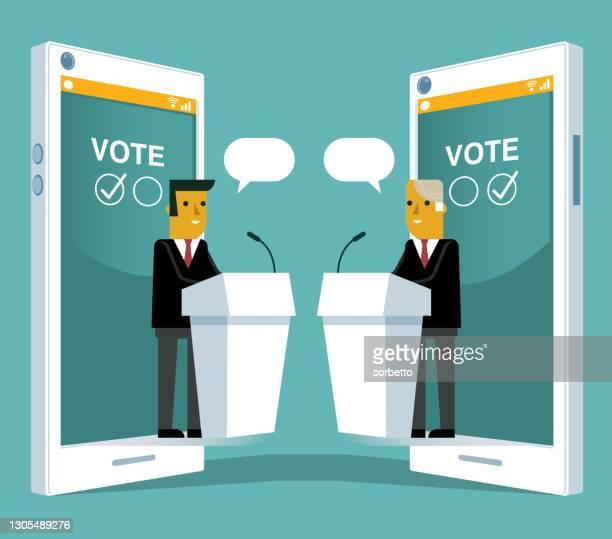 illustrations, cliparts, dessins animés et icônes de vote en ligne - hommes d'affaires - president