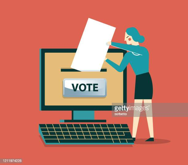on-line voting - businesswoman - voting stock illustrations