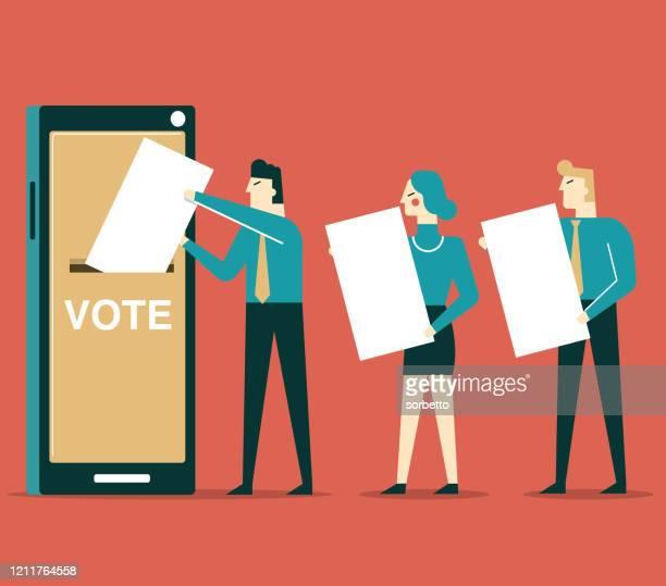 illustrations, cliparts, dessins animés et icônes de vote en ligne - téléphone intelligent - election