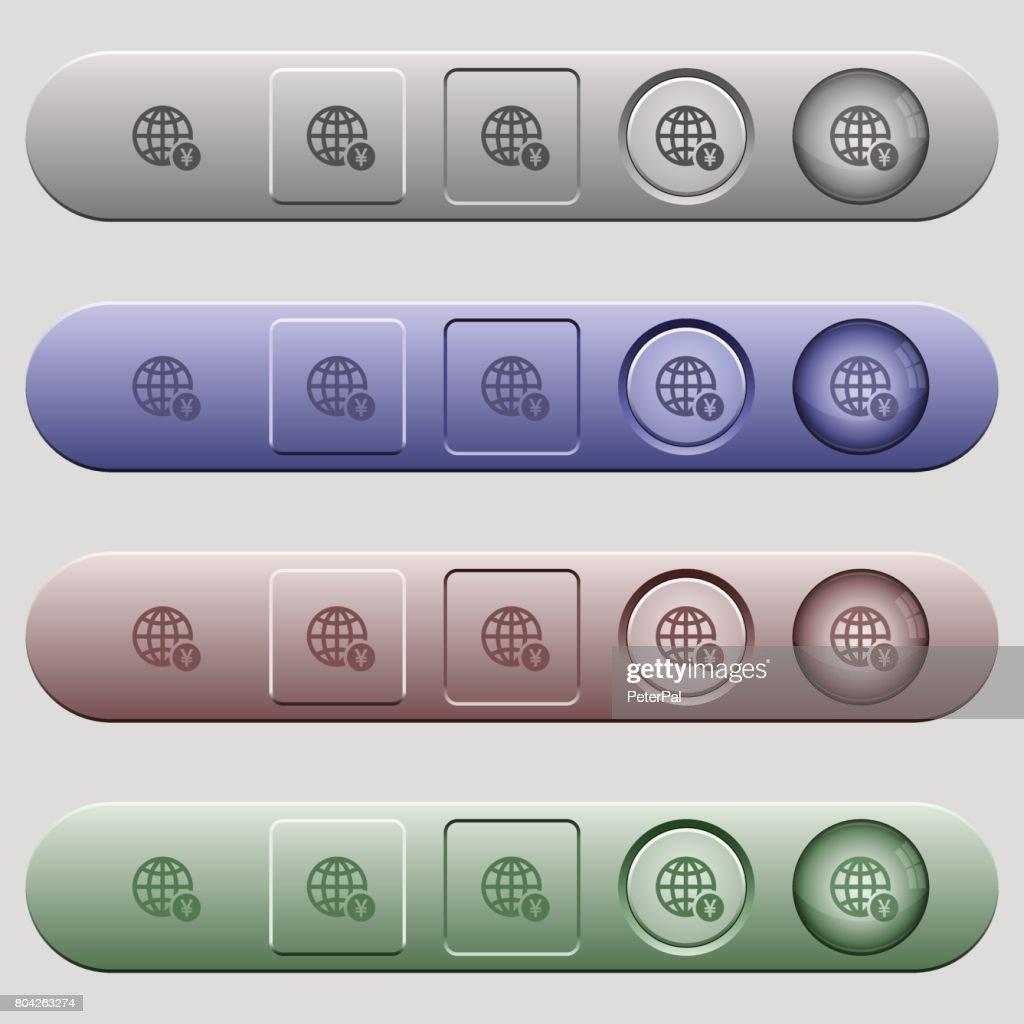 Online Yen payment icons on horizontal menu bars