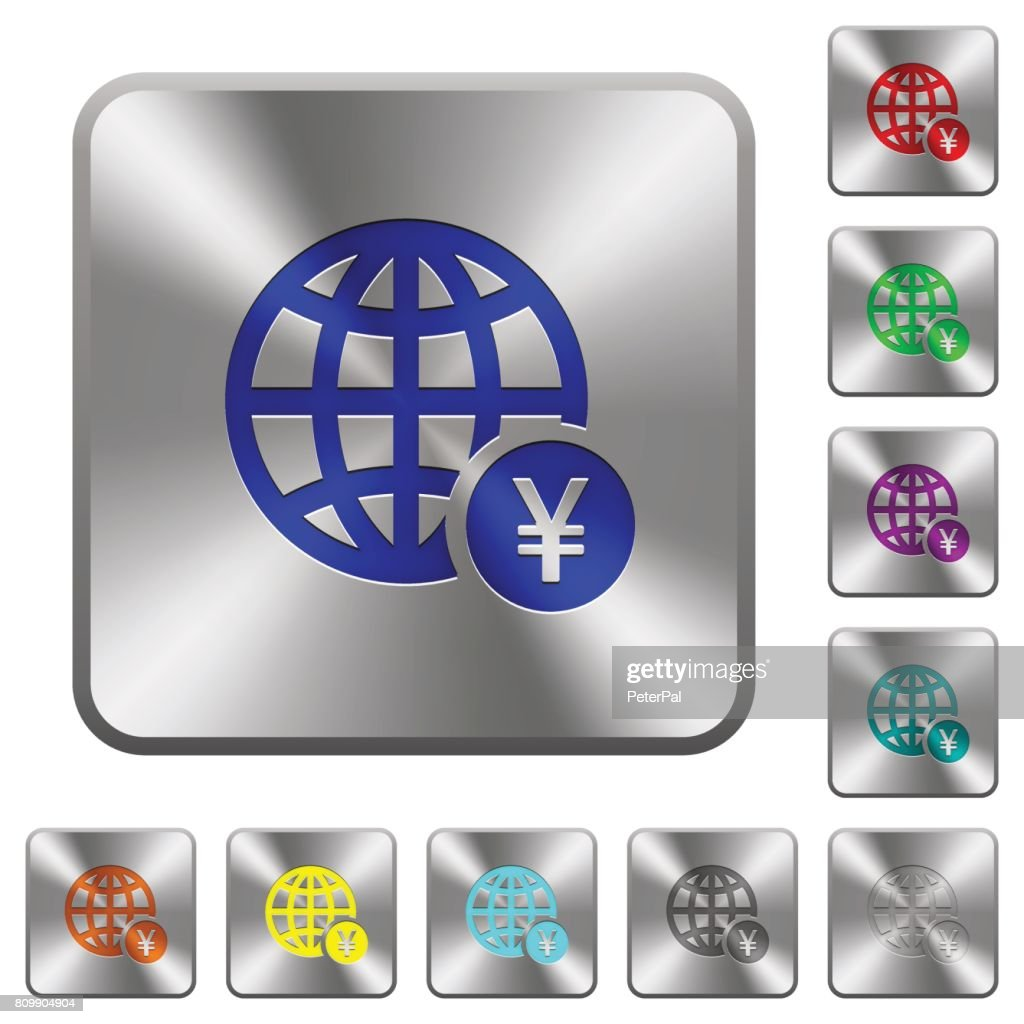 Online Yen payment rounded square steel buttons
