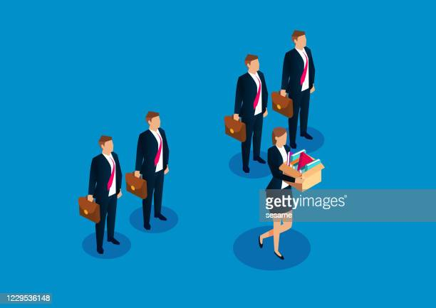 only a female employee was fired from a group of employees - unemployment stock illustrations