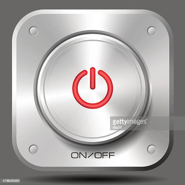 Em Off botões de Metal (vermelho