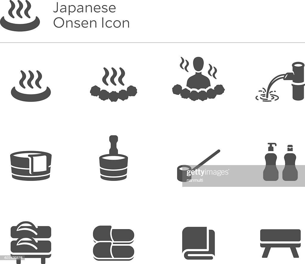 Onsen Japan Japanese Hot Spring Vector Icon Set
