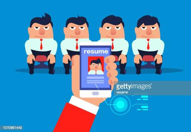 on-site recruitment - job interview stock illustrations, clip art, cartoons, & icons