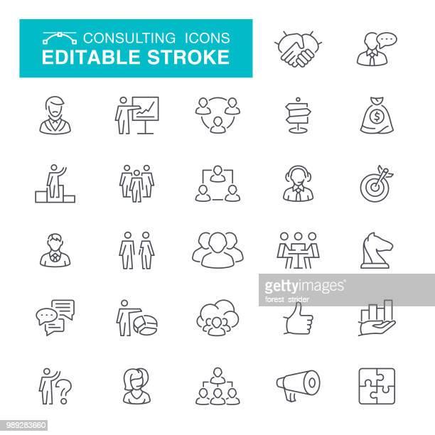 ilustrações, clipart, desenhos animados e ícones de сonsulting curso editável ícones - organização