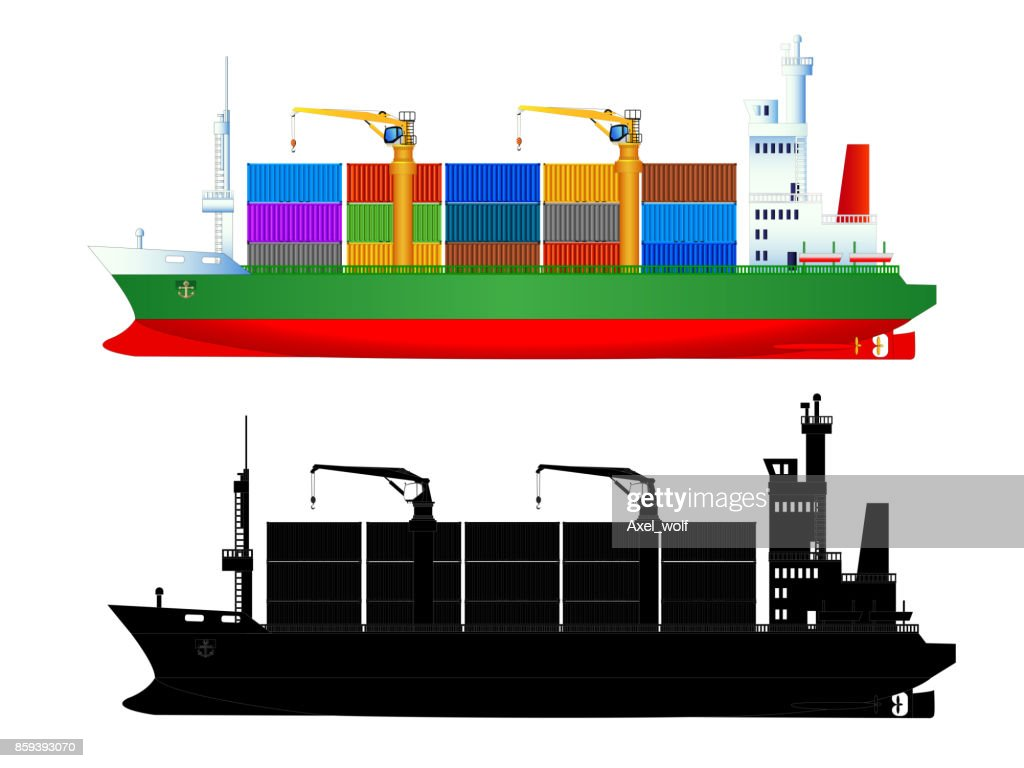 Сontainer ship and silhouette, isolated, vector
