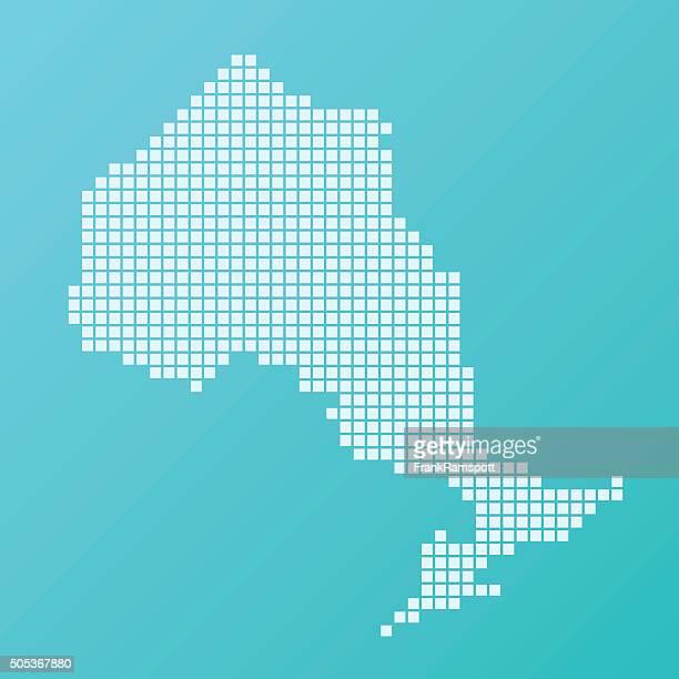 Ontario Map Basic Square Pattern Turquoise