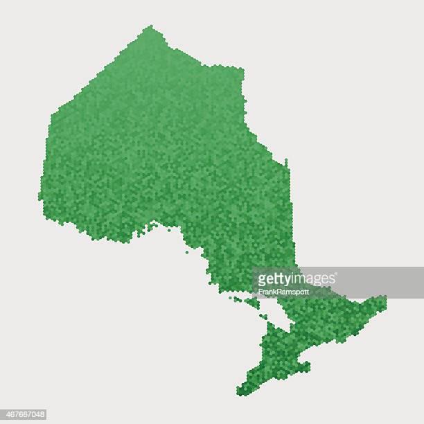 Ontario Map Green Hexagon Pattern