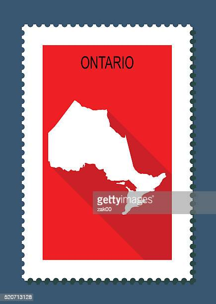 Ontario Map on Red Background, Long Shadow, Flat Design,stamp