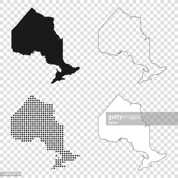ontario maps for design - black, outline, mosaic and white - ontario canada stock illustrations