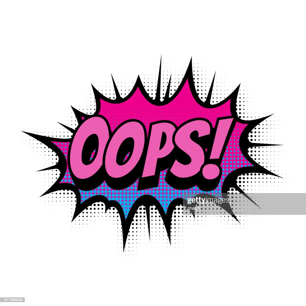 Oops Comic Text Speech Bubble Vector Isolated Template Pop Art Sound