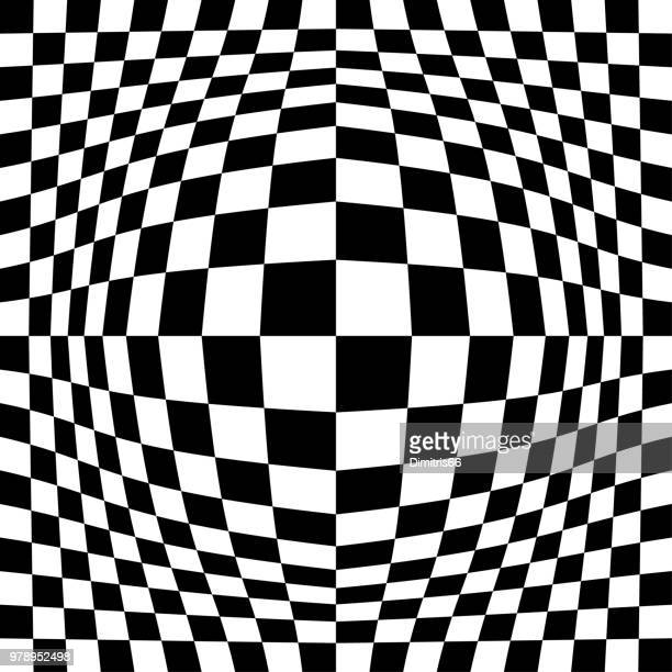 op art background: expanded checked pattern. - optical illusion stock illustrations