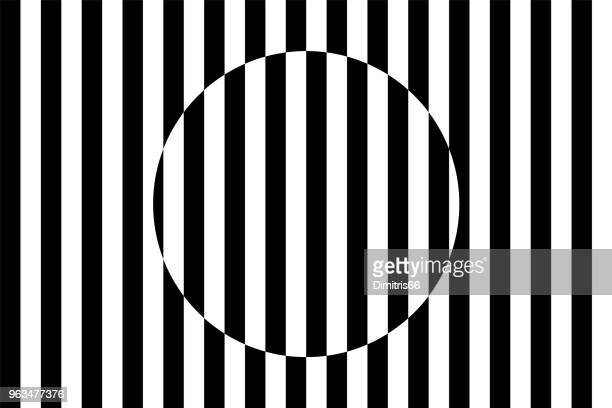op art. circle shape interacting with parallel lines - optical illusion stock illustrations