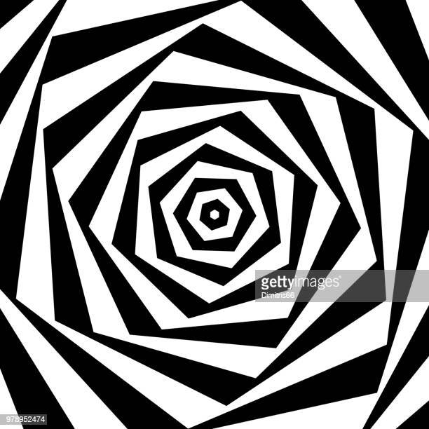 op art: twisted polygons - optical illusion stock illustrations