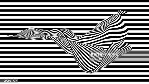 op-art flowing design element in front of striped background. - optical illusion stock illustrations