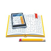 Open accounting book with calculator and pencil