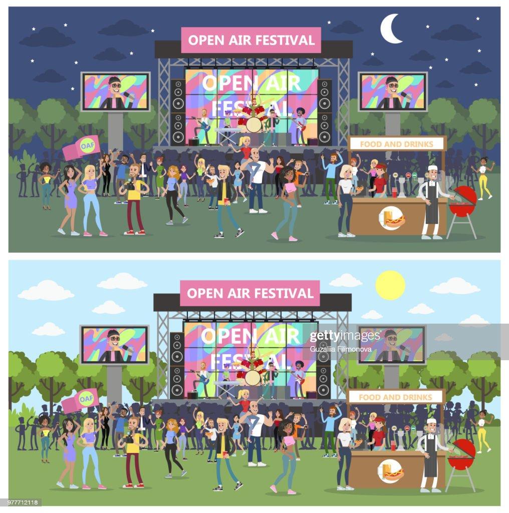 Open air festival set .