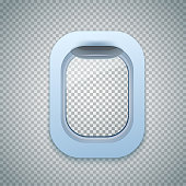 Open Aircraft window. Plane porthole isolated on transparent background. Vector.