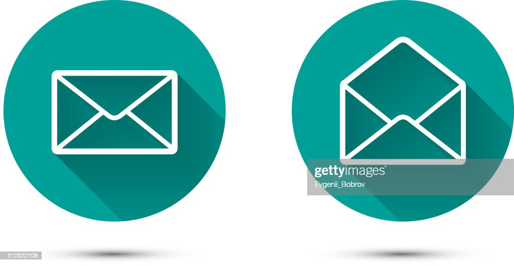 Open and close envelope icons with long shadow on green