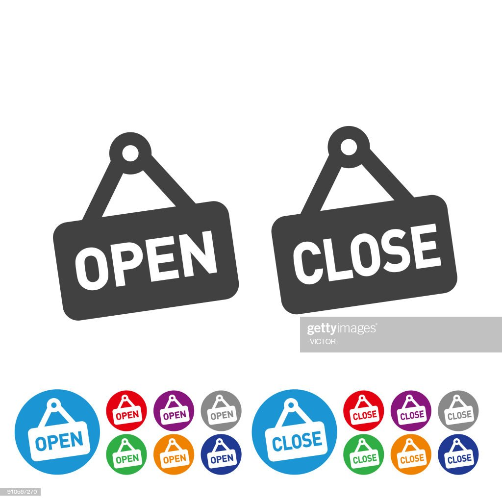 Open and Close Icons - Graphic Icon Series : stock illustration