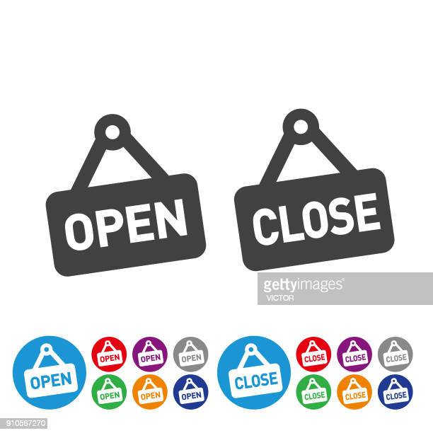 open and close icons - graphic icon series - closing stock illustrations, clip art, cartoons, & icons