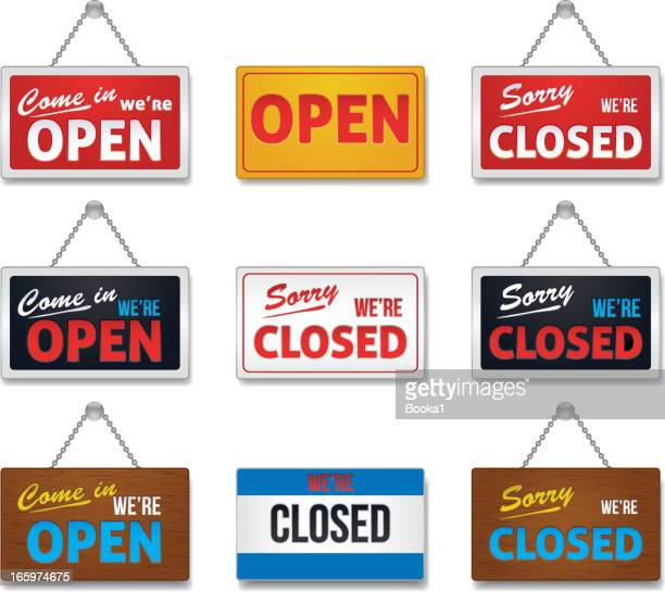 open and close sign-collection - entering stock illustrations