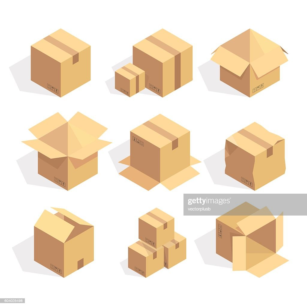 Open and closed delivery cardboard icons set isolated vector illustration