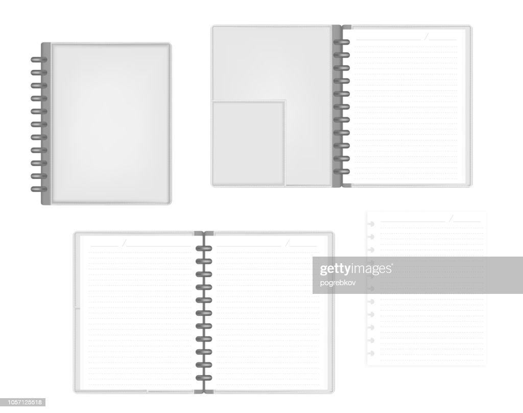 Open and closed disc bound letter size notebook with interior pocket
