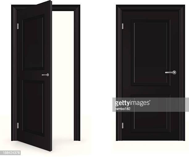 open and closed door - door stock illustrations
