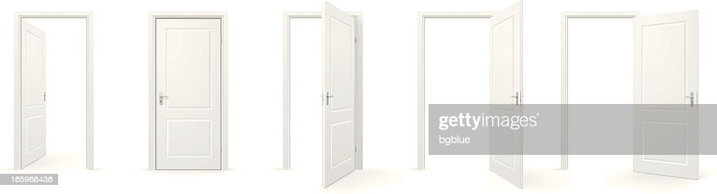 Open and closed doors : stock illustration