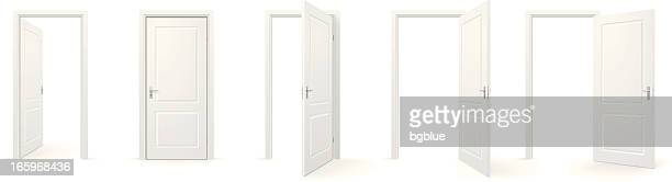 open and closed doors - door frame stock illustrations, clip art, cartoons, & icons