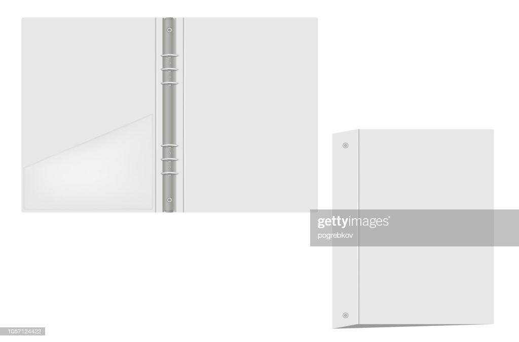 Open and closed ring binder folder with interior pocket, mock up