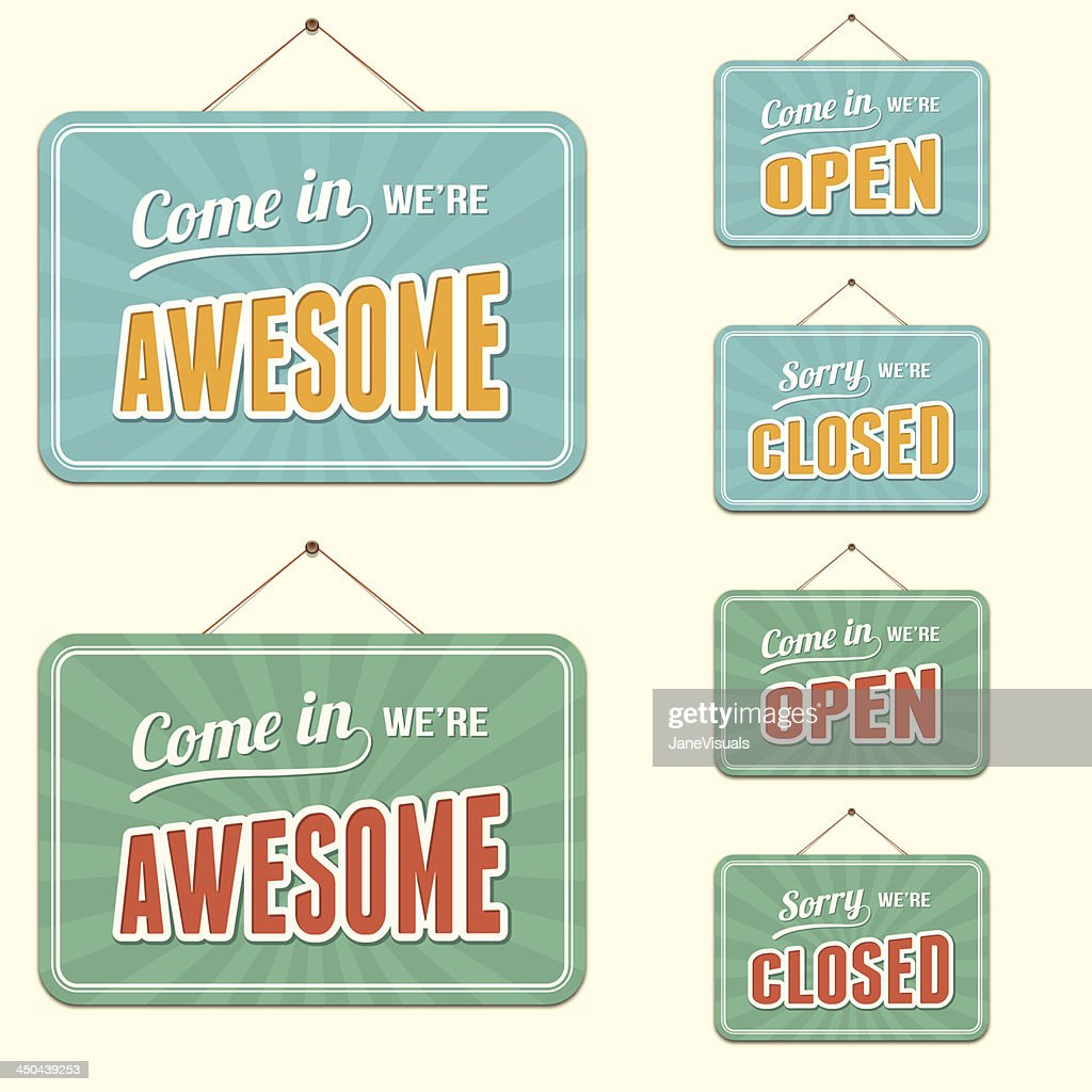 Open and Closed Signs plus Novelty Text