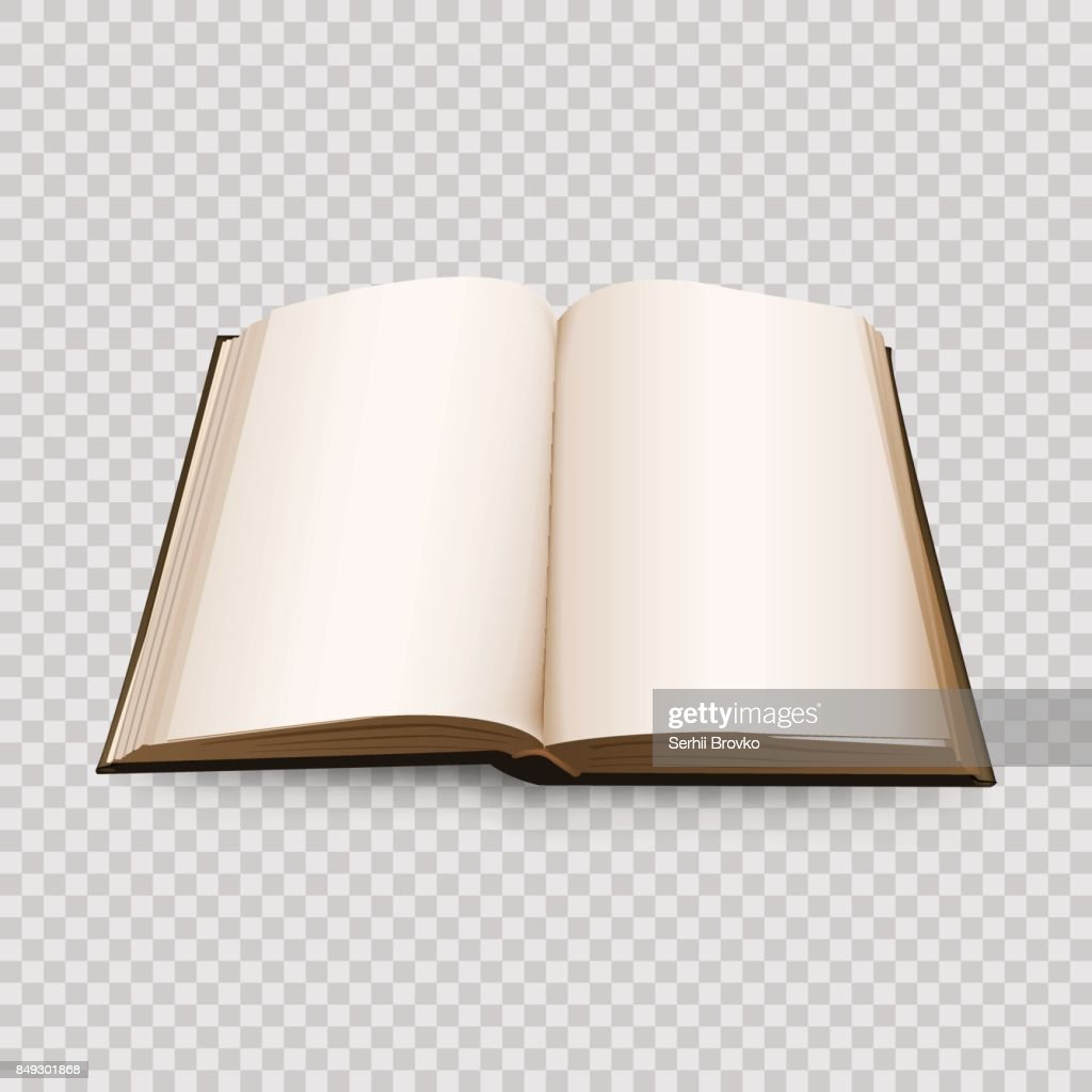 Open Book 3d isolated on transparent background. Vector illustration.