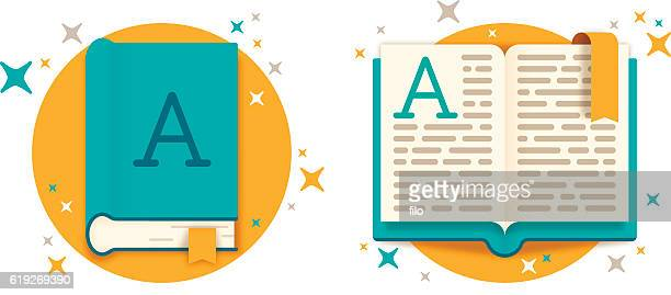 open book and closed book - book stock illustrations
