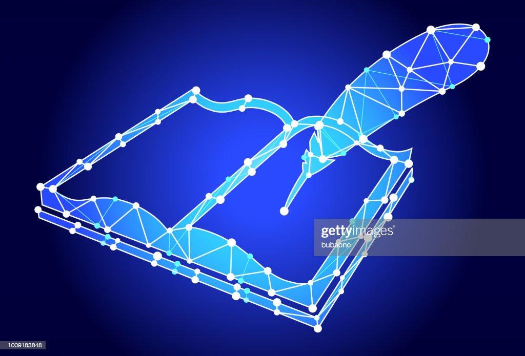 Livre Ouvert Et Quill Pen Triangle Bleu Noeud Vector Pattern