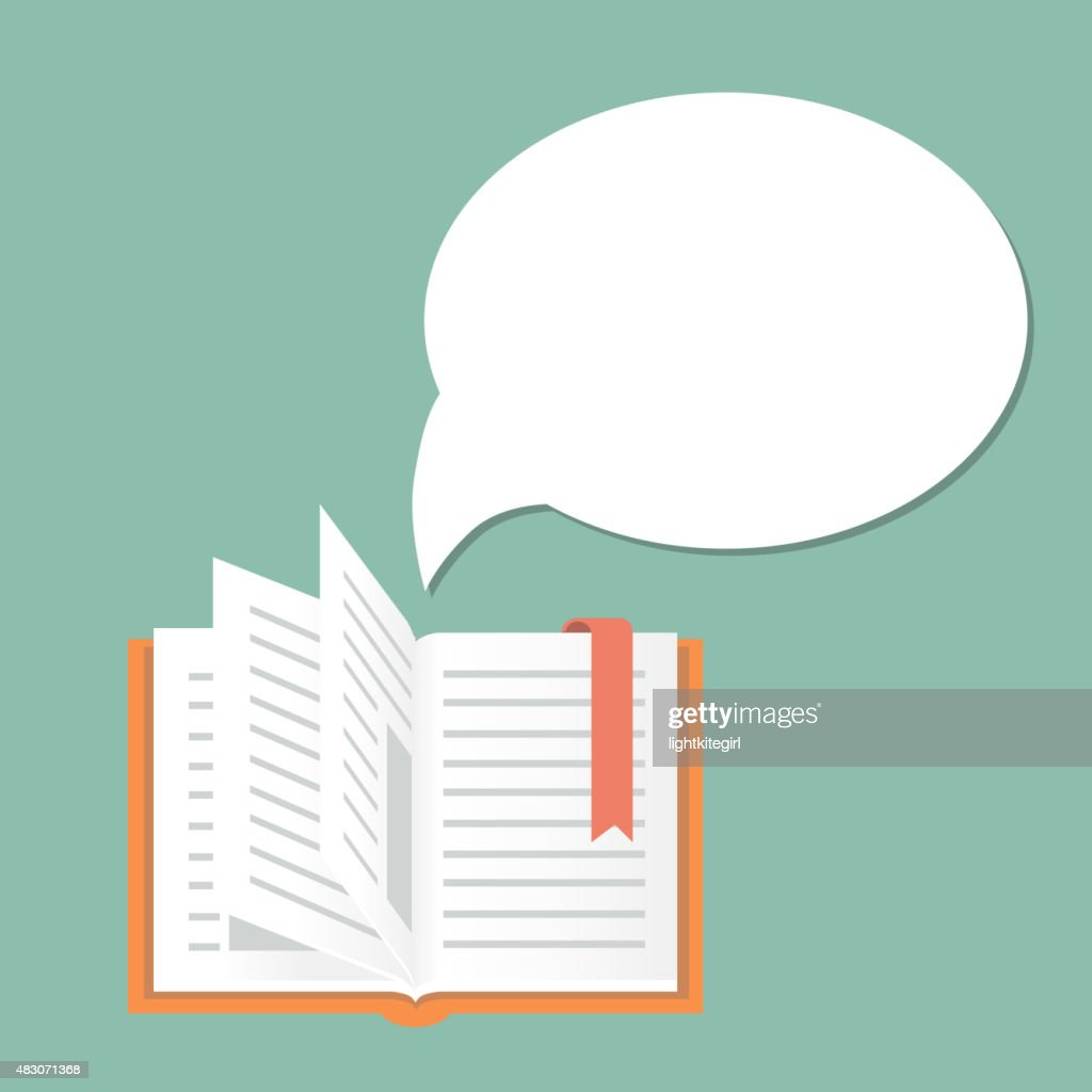 Open book background with speech bubble.  Literature and library, education